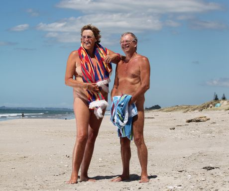 Naturists Glenne Findon and husband Col Basire at Papamoa Beach.