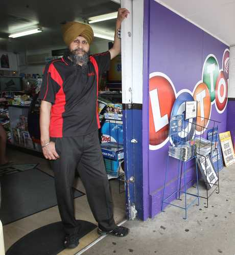 Balvir Singh outside his superette and Lotto outlet in Bureta, which he says will lose business when the new Countdown supermarket opens just down the road.