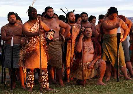 Warriors from the Takitimu waka (Nga Kaihoe o te waka Takitimu) at the first Waitangi Day dawn service at the base of Hopukiore (Mt Drury) today.