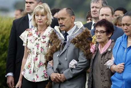 CHALLENGED: Sir Jerry and Lady Janine Mateparae are welcomed onto Te Tii Marae at Waitangi. On the right is veteran activist Titewhai Harawira.