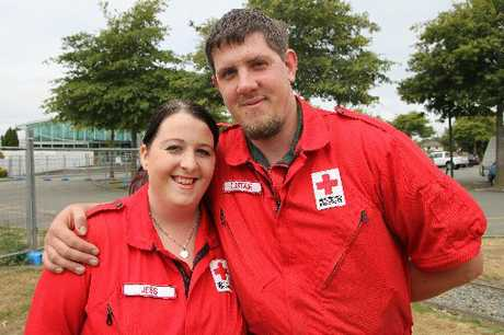 Christchurch Red Cross volunteers Jessica and Alistair Fagg-Banfield with the medals they received for their work during all the South Island disasters since the September 2010 earthquake.