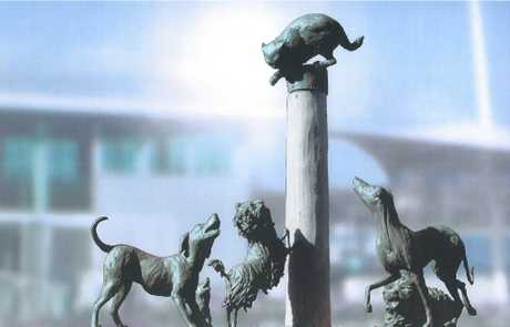 Artist impressions of the Hairy Maclary sculpture.