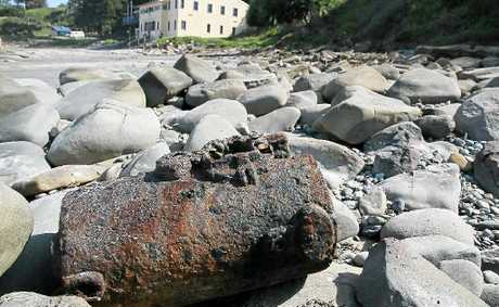 The metal relic found on Yamba's Main Beach is being investigated by the Maritime Services.