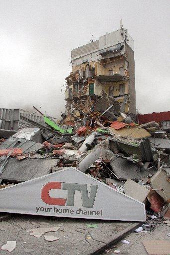 The remains of the Canterbury Television Building after last year's February 22 quake.