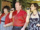Vocal group Treble perform at Love Is In The Air at Vintner's Secret Vineyard yesterday.