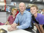 Jake and Caleb Purdy meet rugby league hero Darren Lockyer at the new Porters store at the Northern Beaches.