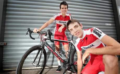 PUMPED UP: Logan's Trent Carmen and James Szollosi are part of a new cycling team entering the National Road Series.