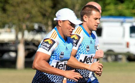 Scott Prince (left) and William Zillman will play for the Titans in the NRL trial match in Mackay.
