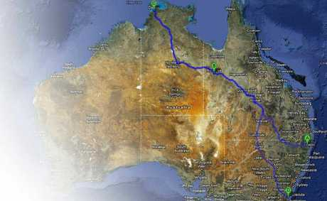 QUICK TRIP: This is a possible route for Ashley Dean Roux after he stole a car from Grafton. It accounts for about 7700km of his claimed 18,000km drive.Imagery C2012 TerraMetrics, Map data C2012 GBRMPA, Google, Tele Atlas, Where's (R), Sensis Pty Ltd.