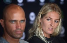 Professional surfers Kelly Slater and Stephanie Gilmore at the launch of the 2012 Quiksilver Pro and Roxy Pro.