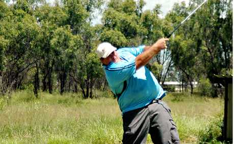 TEED OFF: Adam Drochmann smashes the ball down the fairway during Sunday's Biloela Open.