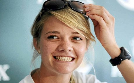 Sailor Jessica Watson looks like to put her toe in the water as a contestant on the TV show Dancing With The Stars.