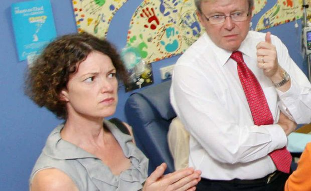Kirsten Livermore with Kevin Rudd when he was prime minister.