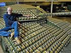Artist Stuart Murdoch&#39;s life-sized tank made of egg cartons.