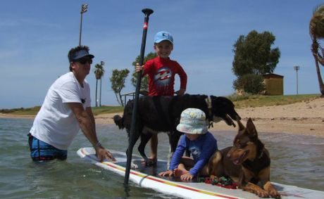 Gavin and Sally Smith, with sons Martin (blue shirt) and Simon (red shirt), and dog Mya and new family member Ruby Rose (front) enjoying a surf. Photo: supplied