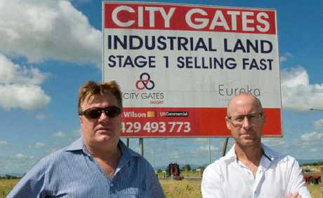 LJ Hooker sales agent Col Wilson and LJ Hooker Mackay principal Des Besanko at the City Gates Industrial Estate.