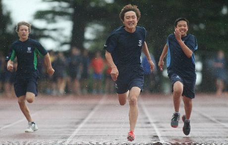 Dominic Lee of Bethlehem College competes in the intermediate 100 metres, in the school's athletics day at Tauranga Domain.