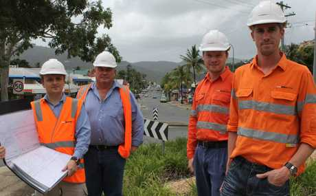 READY TO GO: ProBuild Civil's main street project manager Alistair Neale, senior site supervisor Steve Garratt and engineers Ben Wells and Adam Trew are looking forward to the commencement of work next week.