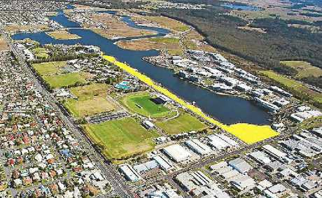 An aerial view of Eastbank Lake Kawana.