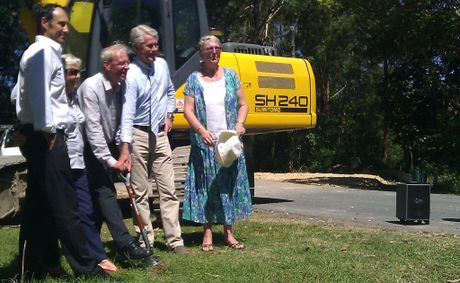 Rory Curtis, Pat Tate, Cr Barry Longland, Geoff Provest and Diane Gay turn the Kirkwood Rd extension's first sod.
