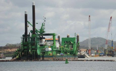 The cutter suction dredger Al-Maahar operating in Gladstone Harbour for the Western Basin Dredging Project.