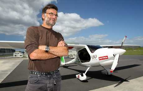 HIGH FLYER: Pilot Matevz Lenarcic after landing his motorised glider at Tauranga Airport.