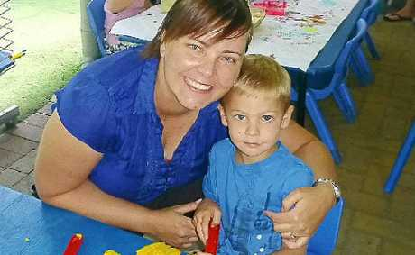 Coolum Kindy parent committee president Lorelle Rickard and son Phoenix.