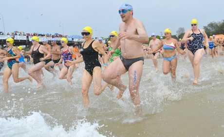 Keen swimmers hit the water at Jetty Beach this morning for the 2klm event of the Beachside Radiology Coffs Coast Ocean Swim.