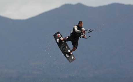 SOARING SKYWARD: World-ranked kiteboarder Marc Jacobs of Mount Maunganui got lots of air in gale-force winds off Fergusson Park on Saturday.