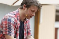 Jamie Oliver gives a cooking demonstration in Ipswich.