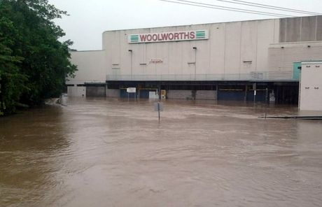 Nambour Woolworths flooded this afternoon. Photo: Caitlyn Furler