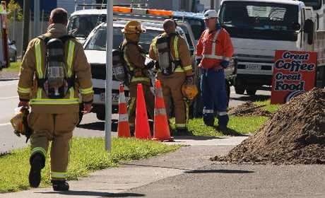 Emergency services work to stop a gas leak in Mount Maunganui yesterday, which sparked the closure of Hull Rd. Photo / Joel Ford
