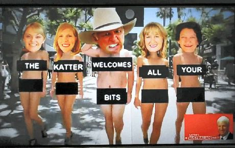 YOU CAN LEAVE YOUR HAT ON: A still from YouTube video poking fun Bob Katter's Australian Party.