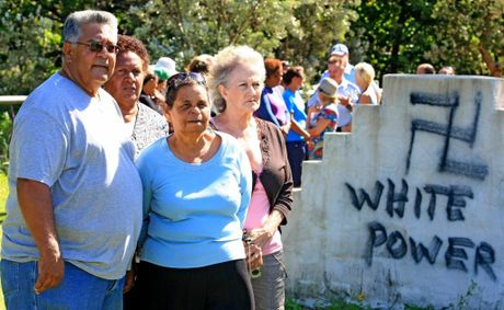 Residents at Fingal Cemetery Kevin Slabb, Sharon Phillips, Aunty Joyce and Jackie McDonald are outraged that vandals struck the sacred site.