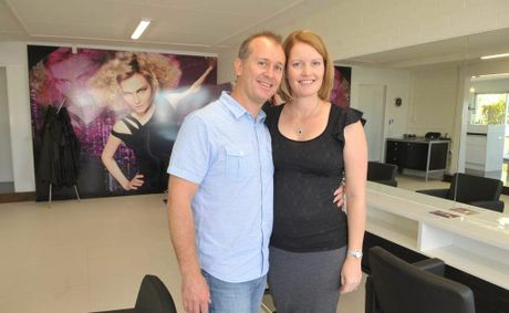 Sam and Rebecca Penny at the new Universal Hair Salon in Buderim.