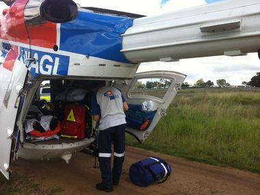 THE AGL Action Rescue Helicopter has airlifted a 56-year-old man to hospital after his horse fell and rolled on him early this morning.