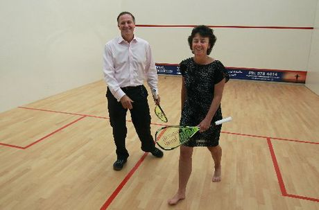 Prime Minister John Key and former world squash champion Dame Susan Devoy at the opening of Tauranga&#39;s Dame Susan Devoy Squash and Fitness Centre yesterday. Photo / John Borren