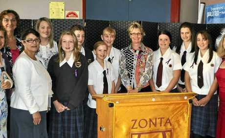 Women and girld from Warwick State High School among the 100-plus guests who were happy to show their support to speaker Louise Samuel at the Zonta IWD breakfast.