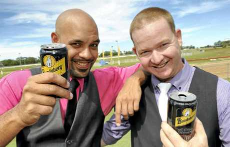 Dion Chippendale and Iain Limpus at the Catholic Schools Race Day held at Thabeban Park on Saturday.