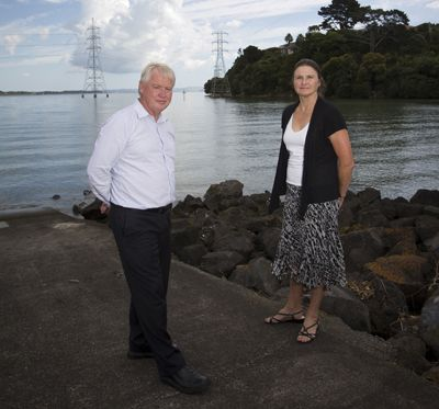 Jim Jackson and Bronwen Turner are pushing for the restoration of the Manukau harbour to its pre-1920s level. Photographed at Onehunga Wharf