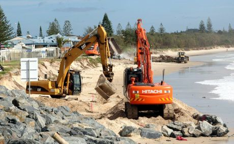 Work is now underway on a rock wall to stop erosion at Kingscliff.