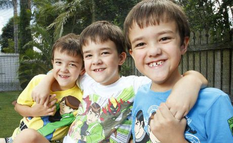 The Multiple Births Association is 25 years old. Eight-year-old triplets from left, Zane, Matt and Rhett Sinclair.