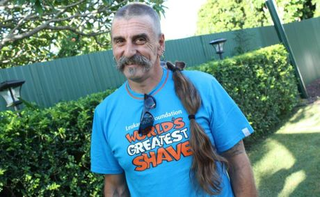 Michael Davies and his lost lock. Mr Davies raised $2,300 for the Leumaemia Foundation.