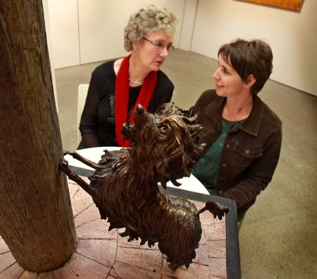 Dame Lynley Dodd sits with Brigitte Wuest, who has been chosen to sculpt the Hairy Maclary and Friends project.