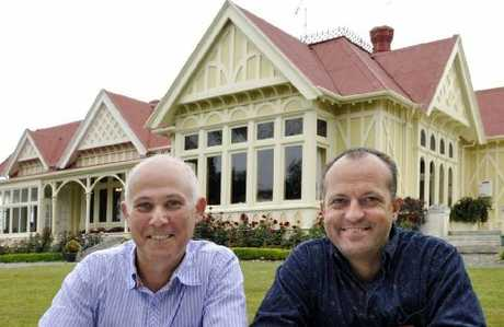 GREEN: Pen-y-bryn Lodge owners James Glucksman and James Boussy outside their historic building. PHOTO/SUPPLIED