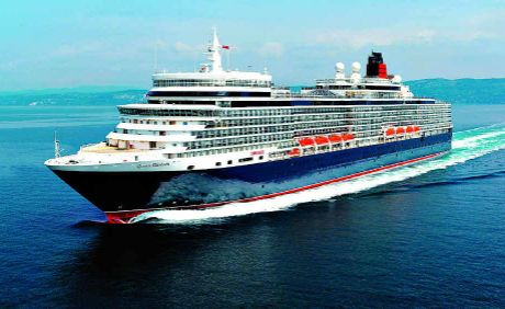 GRACING THE SEAS: The QE sets sail for another leisurely, luxurious ride on the ocean waves.