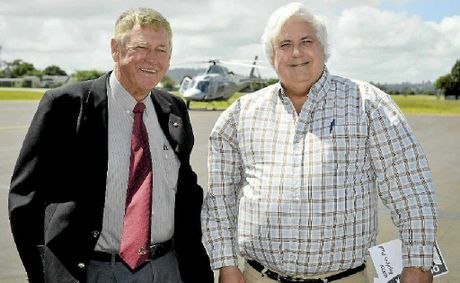 BIG HITTERS: Former Toowoomba City Mayor and philanthropist Clive Berghofer (left) greets billionaire mining magnate Clive Palmer yesterday at Toowoomba Airport.