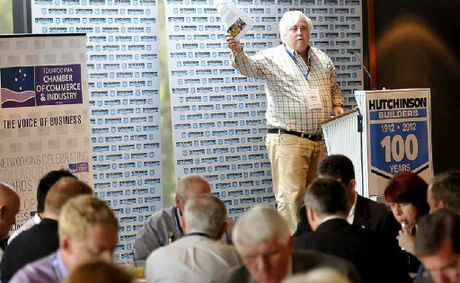 Billionaire Clive Palmer addresses Toowoomba's political, civic and business leaders at the luncheon.