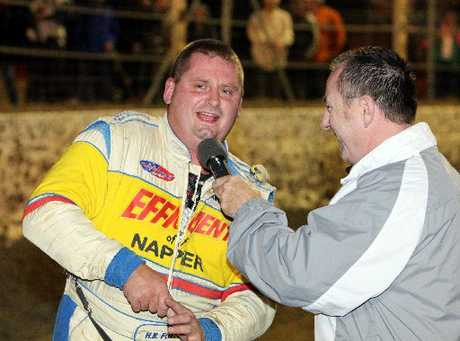 SPEEDWAY SPOTLIGHT: Hawke&#39;s Bay&#39;s Craig Todd (left), is interviewed by track announcer Mike Wilson after retaining his national TQ title at Meeanee on Saturday night.
