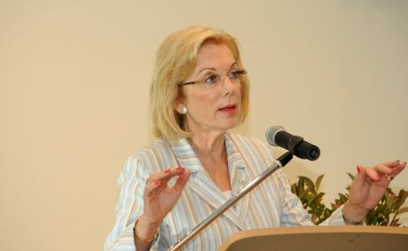 Ita Buttrose, President elect for Alzheimer&#39;s Australia, speaking at Crowley village in Ballina yesterday.